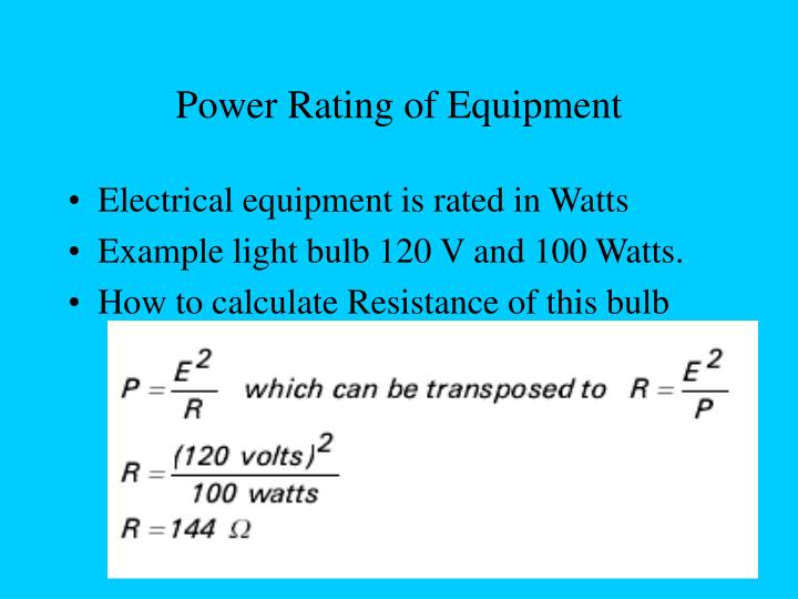 Power Rating of Equipment