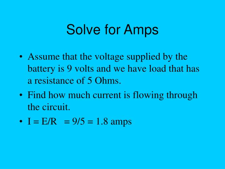 Solve for Amps