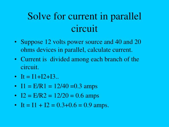 Solve for current in parallel circuit