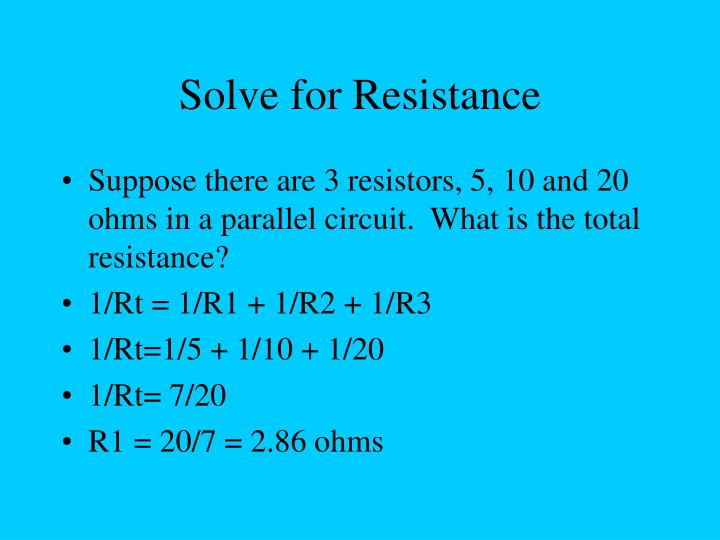 Solve for Resistance