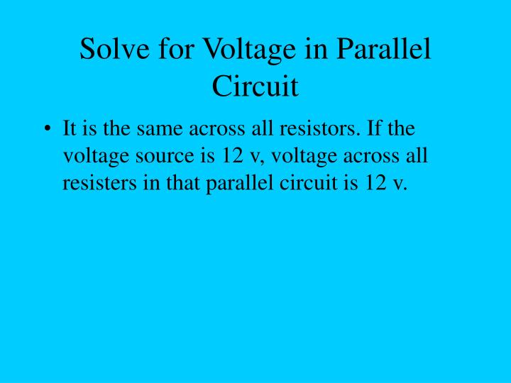 Solve for Voltage in Parallel Circuit