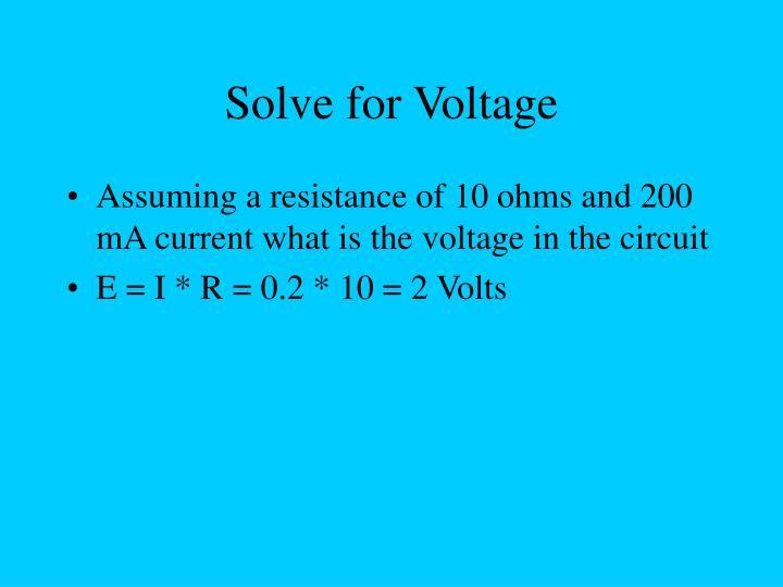 Solve for Voltage