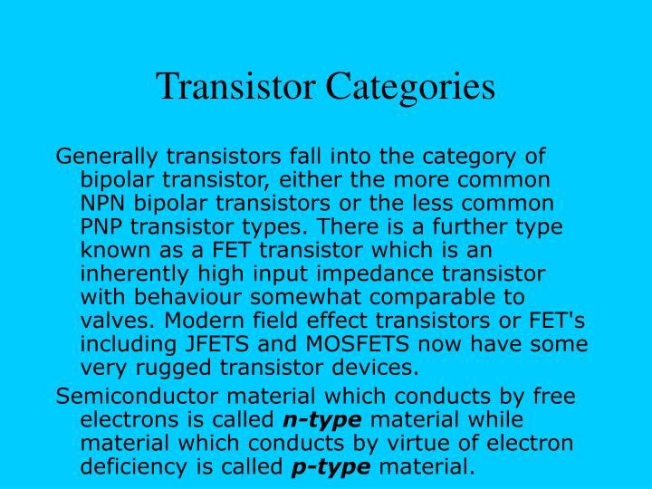 Transistor Categories