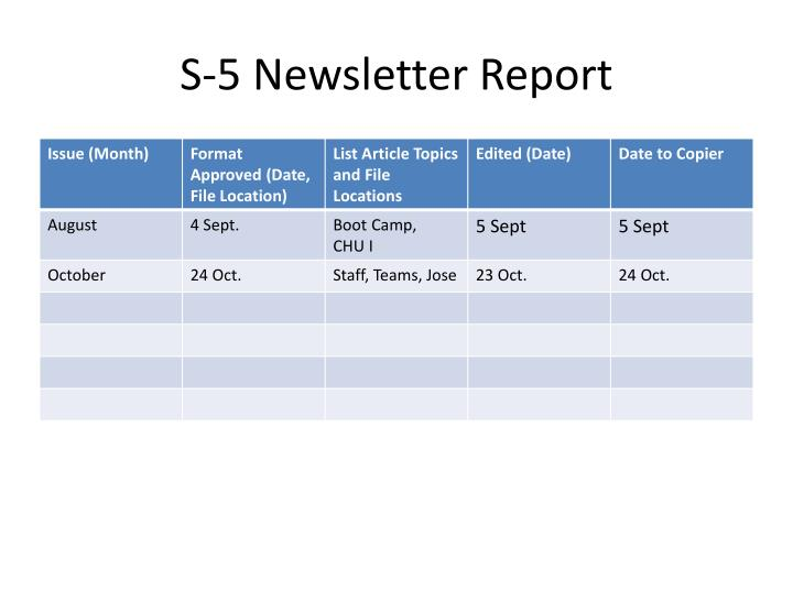S-5 Newsletter Report