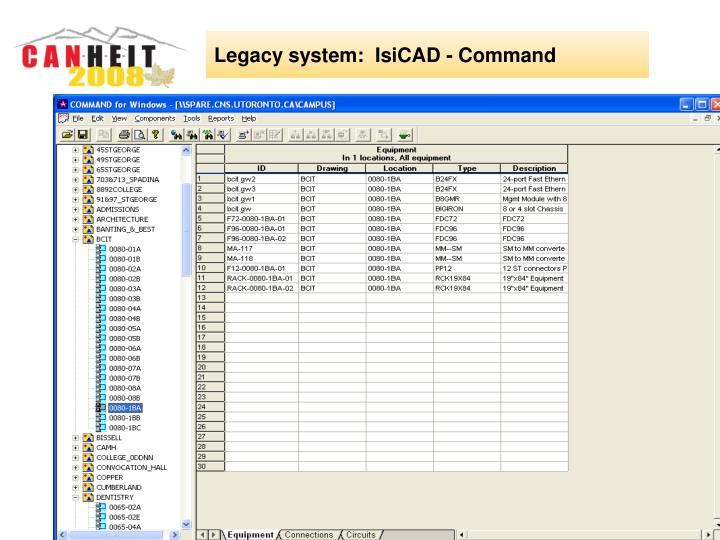 Legacy system:  IsiCAD - Command