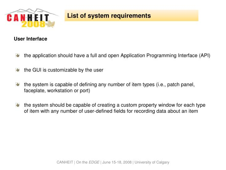 List of system requirements