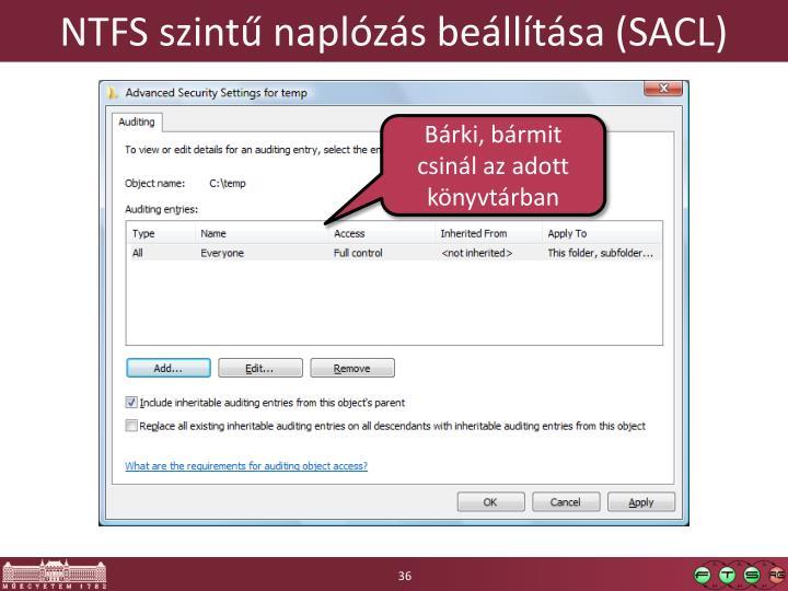 NTFS szintű naplózás beállítása (SACL)