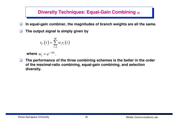 Diversity Techniques: Equal-Gain Combining