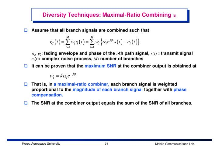 Diversity Techniques: Maximal-Ratio Combining