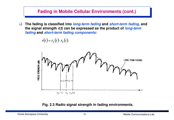 Fading in Mobile Cellular Environments (cont.)