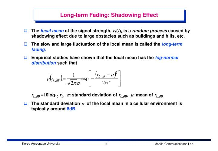 Long-term Fading: Shadowing Effect