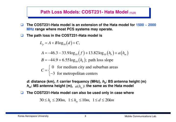 Path Loss Models: COST231- Hata Model