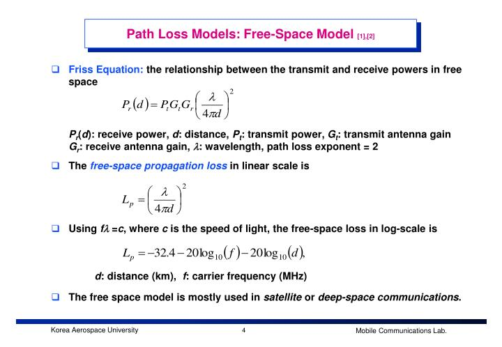 Path Loss Models: Free-Space Model