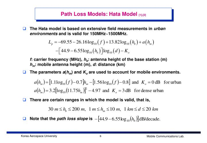 Path Loss Models: Hata Model