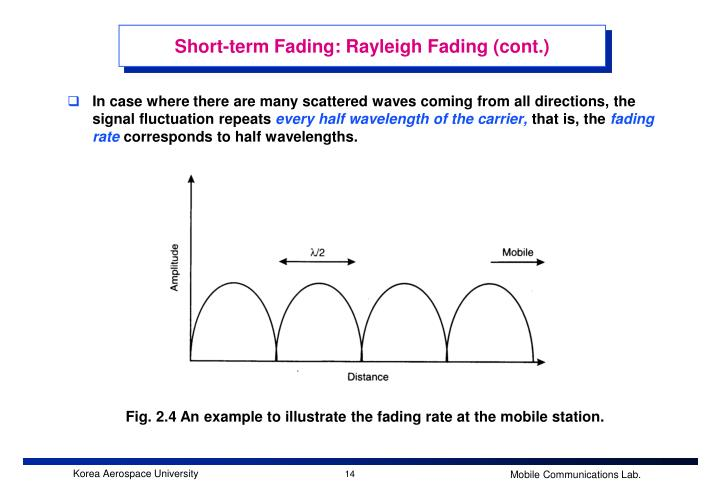 Short-term Fading: Rayleigh Fading (cont.)