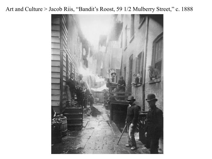 "Art and Culture > Jacob Riis, ""Bandit's Roost, 59 1/2 Mulberry Street,"" c. 1888"