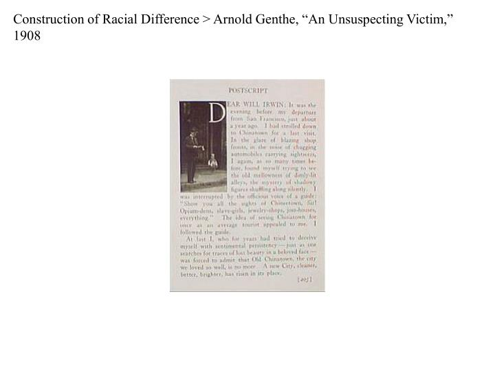 "Construction of Racial Difference > Arnold Genthe, ""An Unsuspecting Victim,"" 1908"