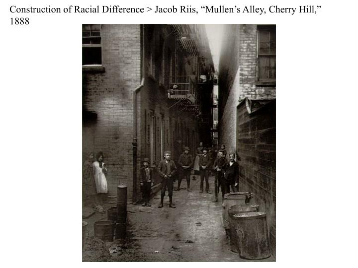 "Construction of Racial Difference > Jacob Riis, ""Mullen's Alley, Cherry Hill,"" 1888"