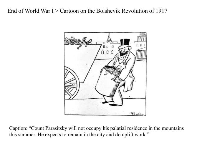 End of World War I > Cartoon on the Bolshevik Revolution of 1917