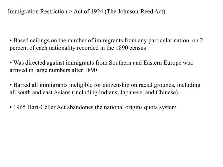 Immigration Restriction > Act of 1924 (The Johnson-Reed Act)