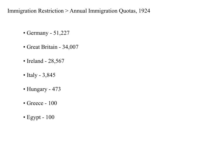 Immigration Restriction > Annual Immigration Quotas, 1924