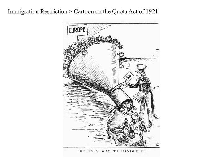 Immigration Restriction > Cartoon on the Quota Act of 1921