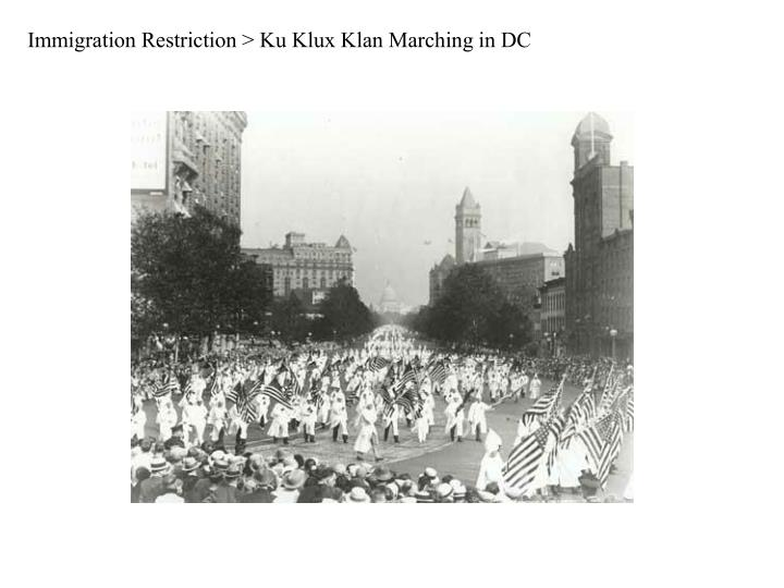 Immigration Restriction > Ku Klux Klan Marching in DC