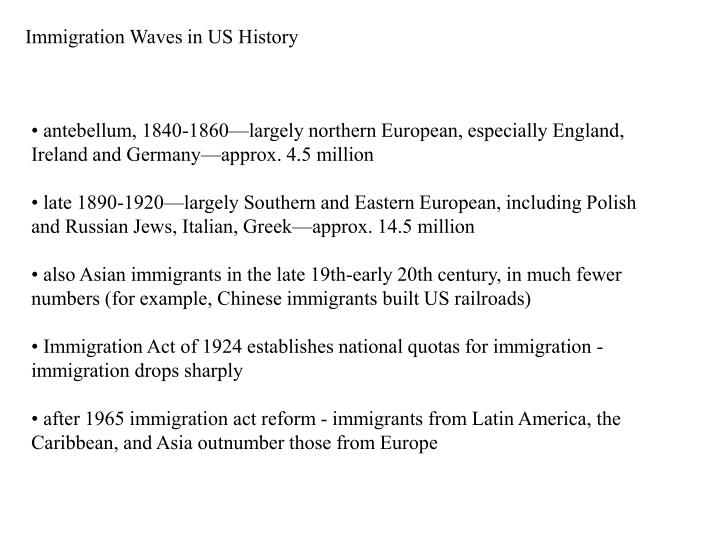 Immigration Waves in US History