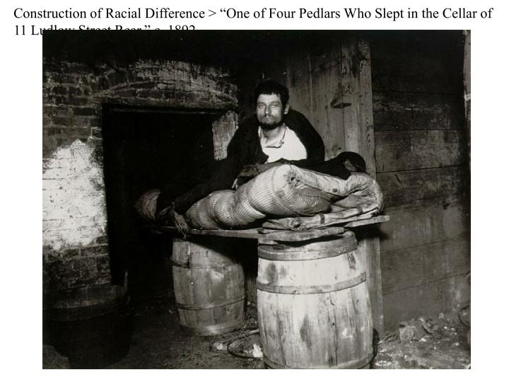 "Construction of Racial Difference > ""One of Four Pedlars Who Slept in the Cellar of 11 Ludlow Street Rear,"" c. 1892"