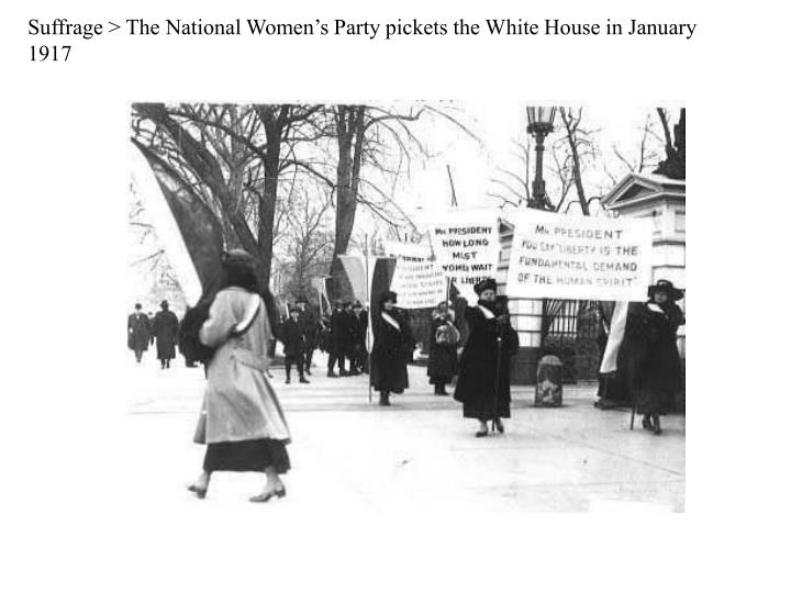 Suffrage > The National Women's Party pickets the White House in January 1917