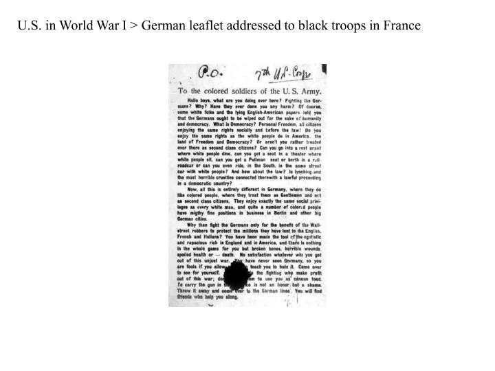 U.S. in World War I > German leaflet addressed to black troops in France