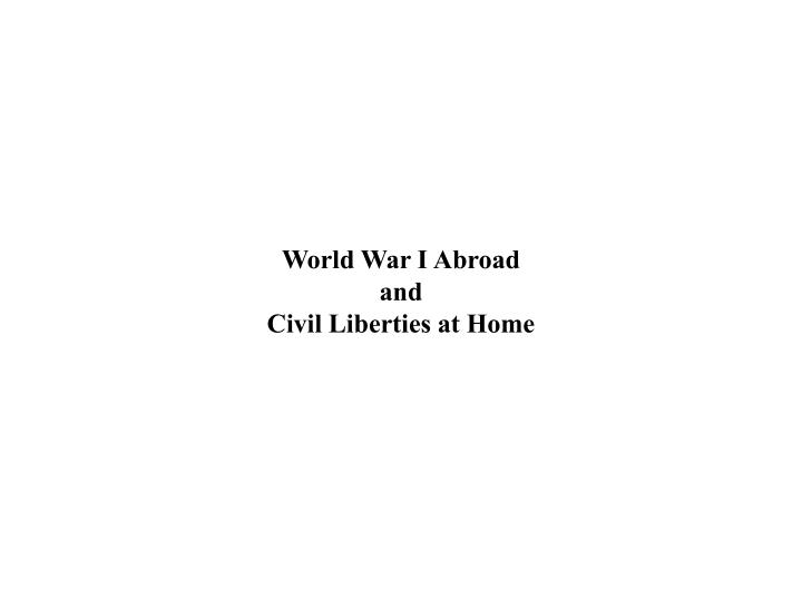 World War I Abroad