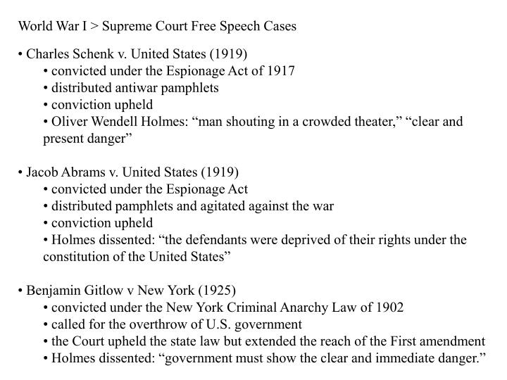 World War I > Supreme Court Free Speech Cases