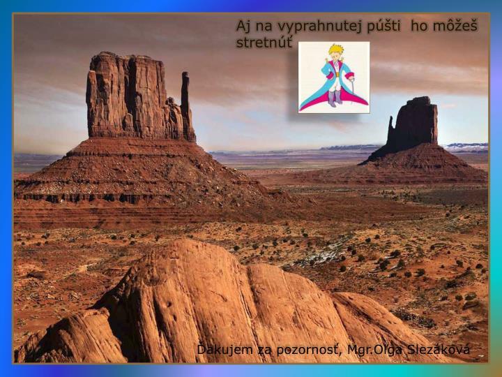 Aj na vyprahnutej púšti  ho môžeš stretnúť