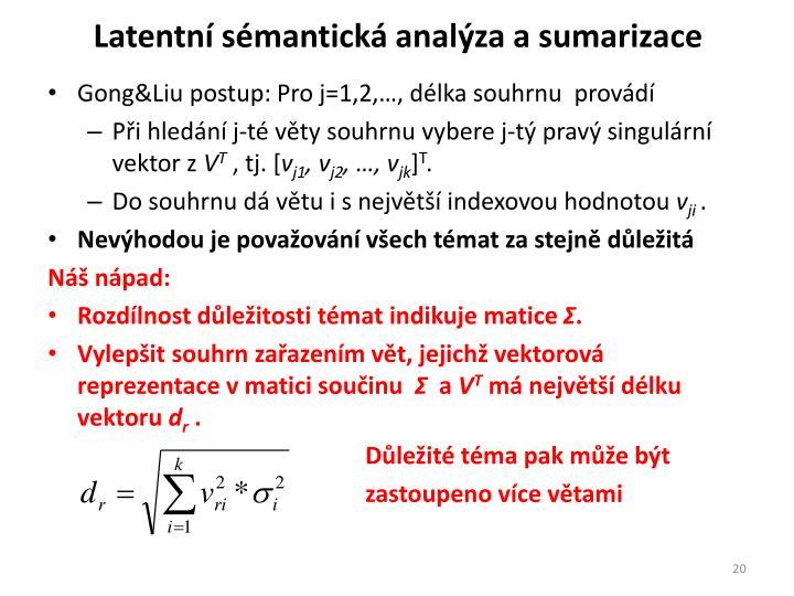 Latentní sémantická analýza a sumarizace