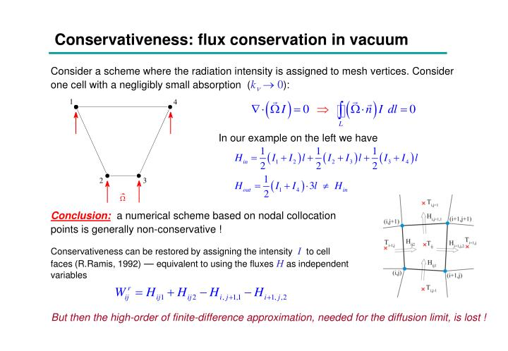 Conservativeness: flux conservation in vacuum