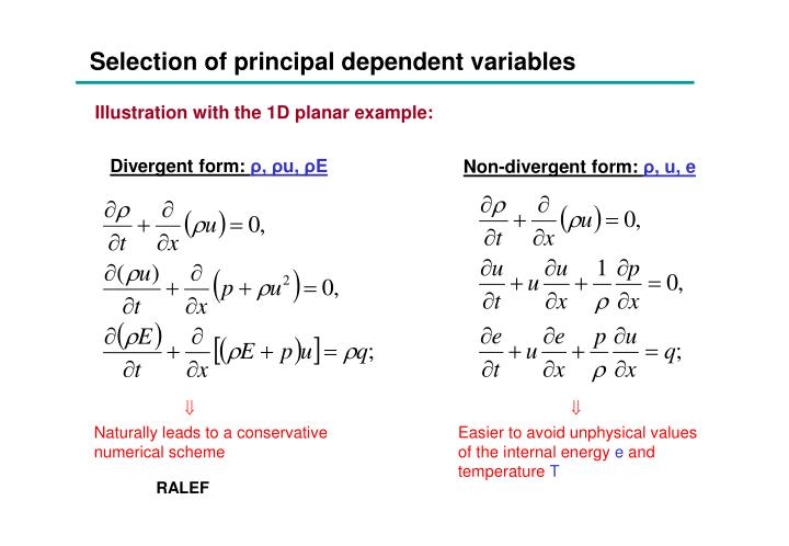 Selection of principal dependent variables
