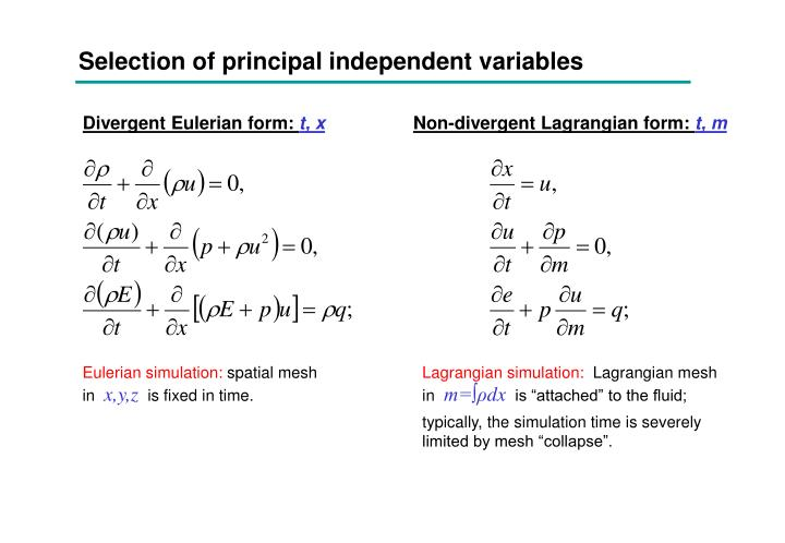 Selection of principal independent variables