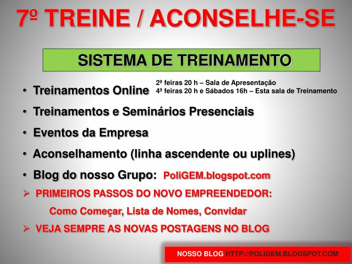 7º TREINE / ACONSELHE-SE
