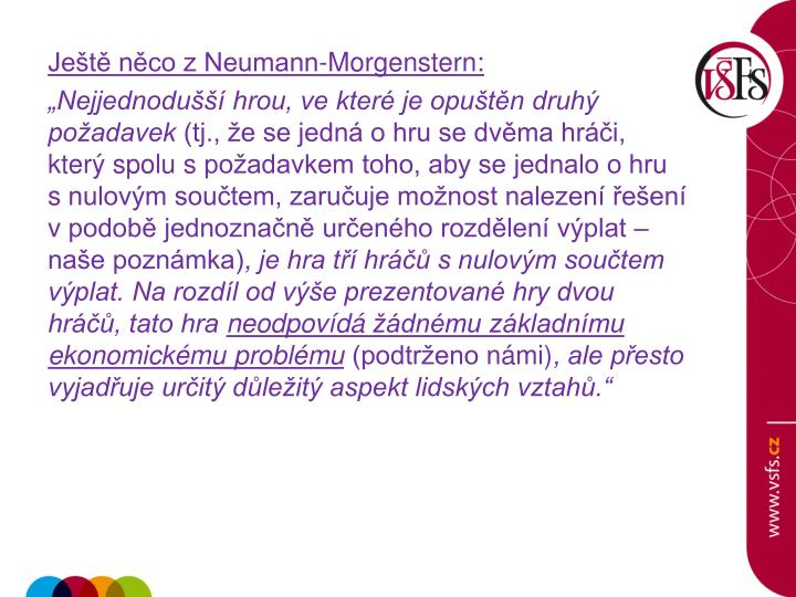 Ještě něco z Neumann-