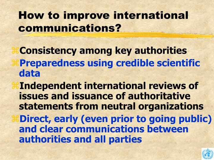 How to improve international communications?