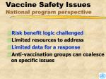vaccine safety issues national program perspective