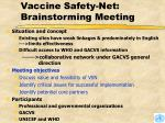 vaccine safety net brainstorming meeting