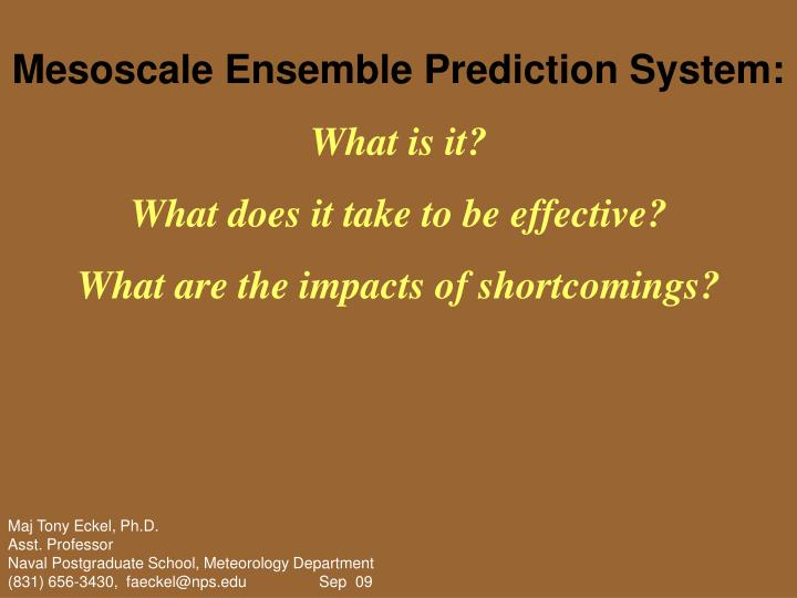 Mesoscale Ensemble Prediction System: