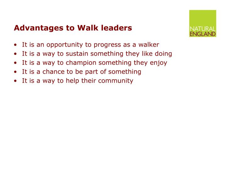 Advantages to Walk leaders