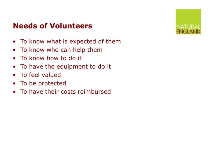 Needs of Volunteers