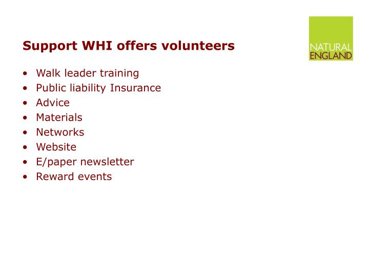 Support WHI offers volunteers