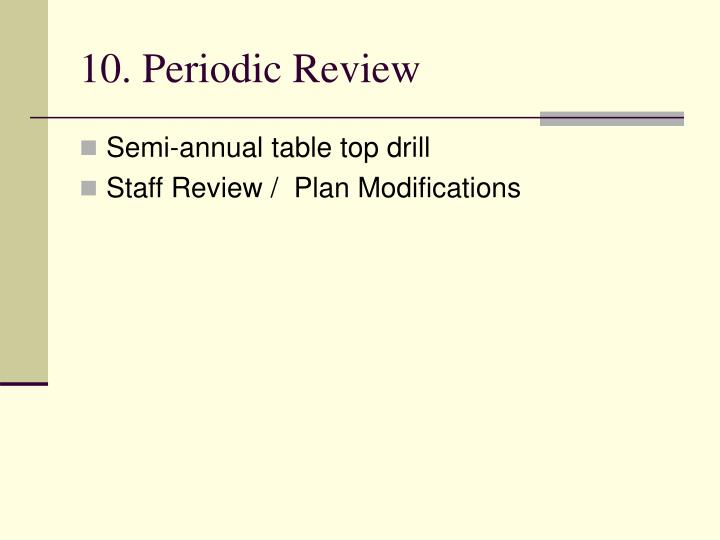 10. Periodic Review