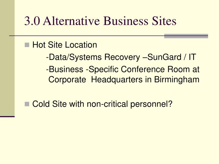 3.0 Alternative Business Sites