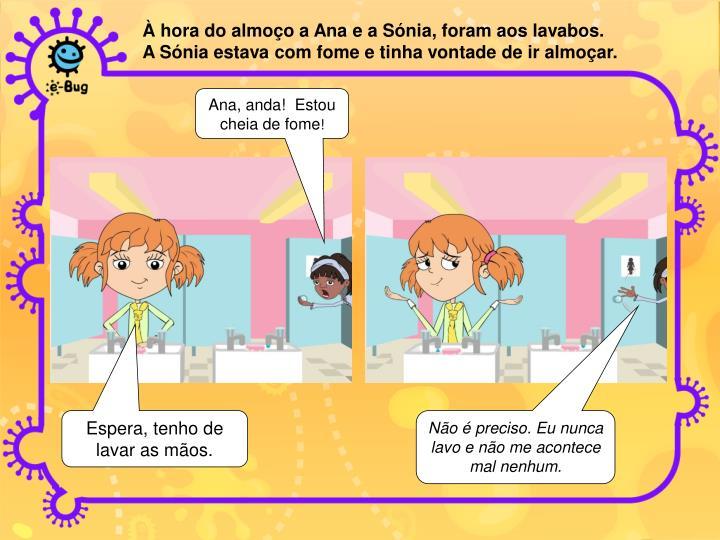 À hora do almoço a Ana e a Sónia, foram aos lavabos.